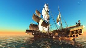 Sailing boat. Horizon and the sailing boat Stock Photo