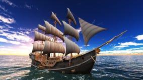 Sailing boat. Horizon and the sailing boat Royalty Free Stock Image