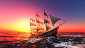 Sailing boat. Horizon and the sailing boat Stock Image