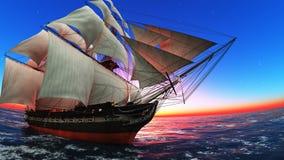 Sailing boat. Horizon and the sailing boat Royalty Free Stock Photos