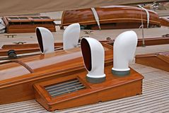 Sailing boat. Deck of a old sailing boat. Bay of Cannes Royalty Free Stock Image