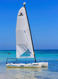 Sailing Boat. In the Carribean Sea royalty free stock photo