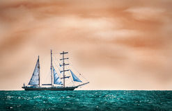 Sailing boat. Mystic scene of a sailing boat on adventure Stock Photography