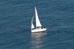 Sailing boat. Aerial view of a sailing boat Stock Photography