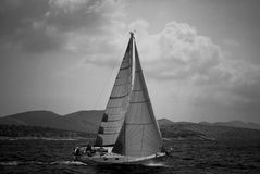 Sailing Boat. Black & White sail boat with strong wing - Croazia 2007 Royalty Free Stock Photo
