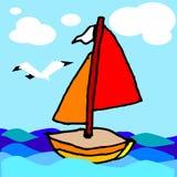 Sailing boat. Children's art drawing, vector, illustration Stock Photography