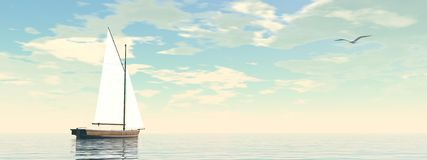 Sailing boat - 3D render Royalty Free Stock Image