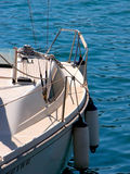 Sailing boat. Half front view of a sailing boat Royalty Free Stock Images