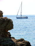 Sailing boat in the adria. Boat sailing in the Adriatic sea near Dubrovnik, Croatia Royalty Free Stock Image