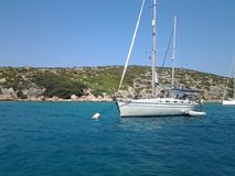 Sailing boat. In Aegean Sea Stock Image