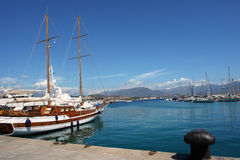 Sailing boat in ajaccio habor Stock Photo