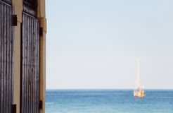 Sailing boat at anchor, blurred Stock Photography