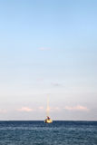 Sailing boat at anchor, space for text on top Royalty Free Stock Photography