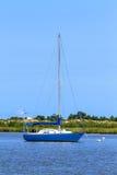 Sailing boat anchoring Royalty Free Stock Image