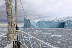 Sailing boat in Antarctica Stock Image