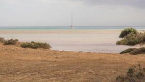 Sailing boat on the Atlantic ocean near the coast of Fuerteventura Stock Images