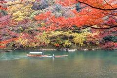 Sailing boat in autumn, Arashiyama, Kyoto, Japan.  Royalty Free Stock Images