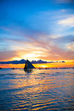 Sailing boat in awesome sunset in Boracay island Stock Images