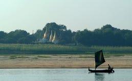 Sailing boat on Ayeyarwady river Royalty Free Stock Photos