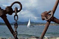 Sailing boat on azure coast. France Stock Photography