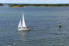 Sailing boat in Baltic sea Stock Photo