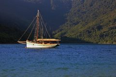 Sailing boat in a bay of the Marlborough Sounds Royalty Free Stock Photography