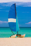 Sailing boat at the beach in Cuba Stock Image
