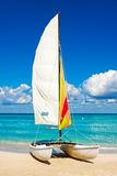 Sailing boat at a beach in Cuba Stock Photos