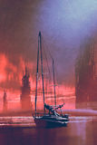 Sailing boat on beach at sunset. Sailing boat on beach against abandoned buildings in the sea at sunset with digital art style, illustration painting Royalty Free Stock Image