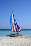 Sailing Boat on the Beach. Sailing Boat on a Tropical Beach stock images