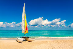 Sailing boat on a beautiful summer day in Cuba Stock Images