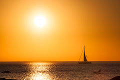 Sailing boat with beautiful sunset Royalty Free Stock Photography