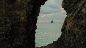 Sailing boat in blue sea. Boracay island Philippines. Royalty Free Stock Photos