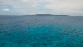 Sailing boat in blue sea. Boracay island Philippines. stock footage
