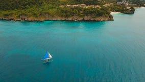 Sailing boat in blue sea. Boracay island Philippines. Royalty Free Stock Photo