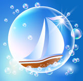 Sailing boat and bubbles Royalty Free Stock Images