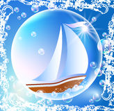 Sailing boat and bubbles Royalty Free Stock Photo