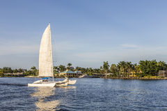 Sailing boat in the canal in Fort Lauderdale Stock Images