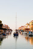 Sailing boat on the canal Royalty Free Stock Images