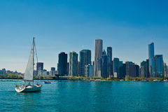 Sailing boat and chicago Stock Photo