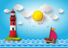 Sailing boat and cloud with lighthouse. Royalty Free Stock Image