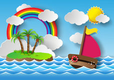 Sailing boat and cloud with rainbow. Royalty Free Stock Photo