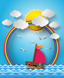 Sailing boat and cloud with rainbow. Stock Image