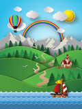 Sailing boat and cloud with rainbow. Stock Images