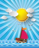 Sailing boat and clouds with sun beam. Stock Image