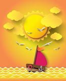 Sailing boat and clouds with sunset. Royalty Free Stock Photos