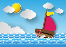 Sailing boat and clouds Royalty Free Stock Images