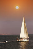 Sailing boat. In coastal waters Royalty Free Stock Photography