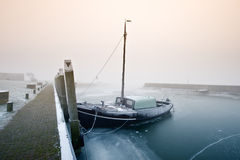 Sailing boat on a cold day in winter Stock Photo