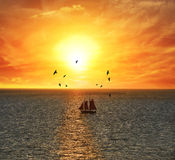 Sailing Boat At The Sunset Stock Photography